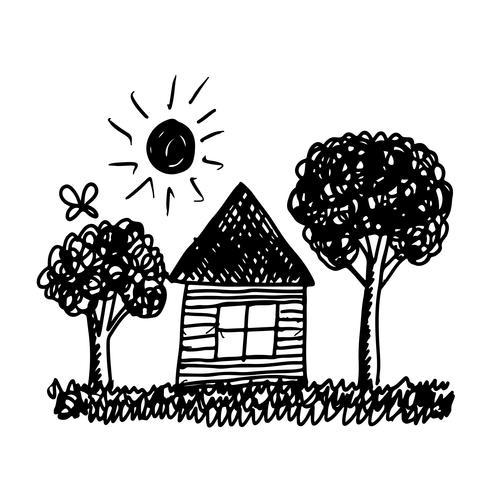 kid hand draw  home tree and sun