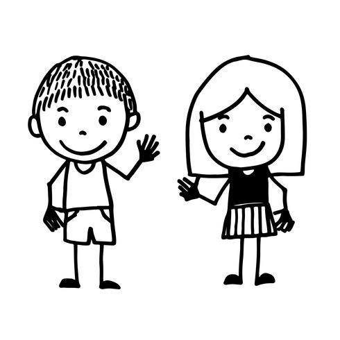 dibujos animados de niños dibujados a mano vector