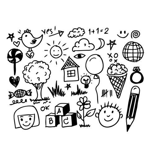 Icona di doodle di tiraggio della mano di bambini vettore