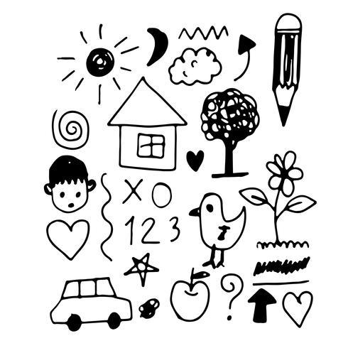 Los niños mano dibujar icono de doodle vector