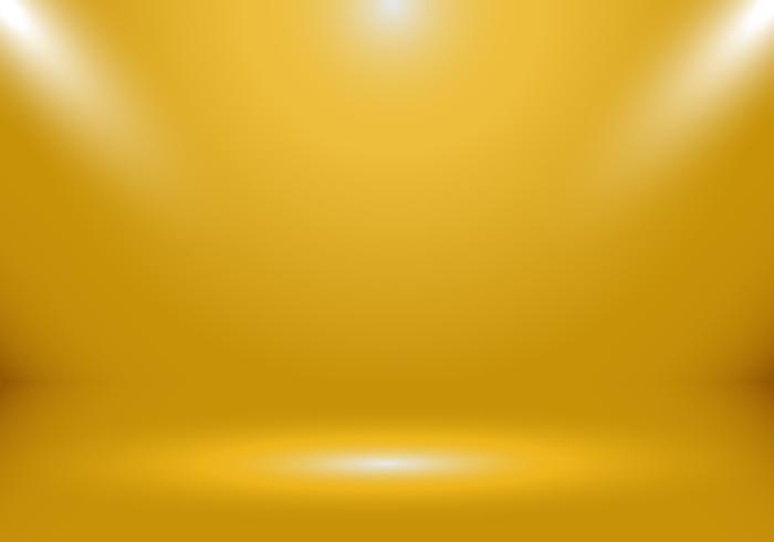 Cabine vazia da mostra da sala do estúdio da cor do ouro 3D para desenhistas com o projetor no fundo da cor do inclinação do ouro. Exibe seu produto ou estilo de luxo de arte.