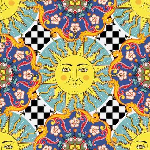 Nahtloser heller Hintergrund. Bunte ethnische runde dekorative Mandala, Sonne mit Symbol des menschlichen Gesichtes auf kariertem Muster. Trendiger Stil. Vektor-illustration
