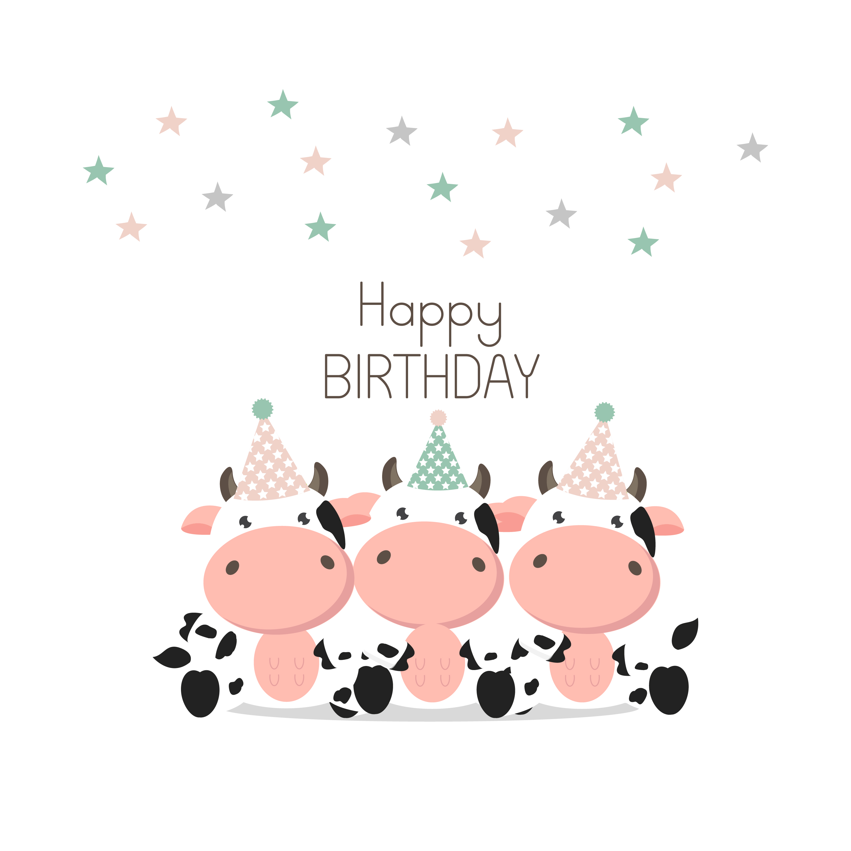 happy birthday greeting card cute cows  download free