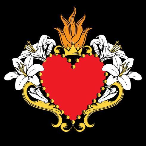 Sacro cuore di Gesù. Bellissimo cuore rosso ornamentale con gigli, corona in isolato su sfondo nero. Illustrazione vettoriale