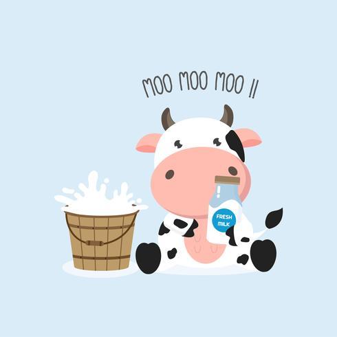 Nette Kuh mit Milchflasche und Milcheimer. Vektor-illustration