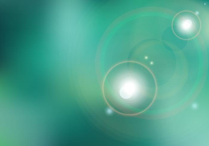 Puesta del sol o salida del sol abstracta y sol que brilla el fondo verde borroso con la llamarada. vector