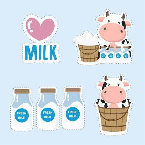 Desenhos animados pequenos da vaca e do leite. Projeto bonito da etiqueta.