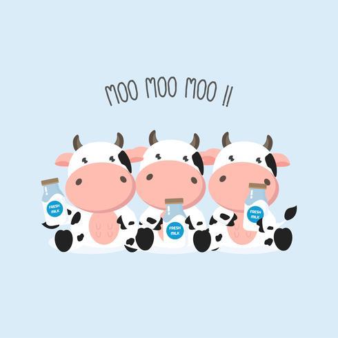 Pequeñas vacas que sostienen la botella de leche. Ilustración del vector. vector