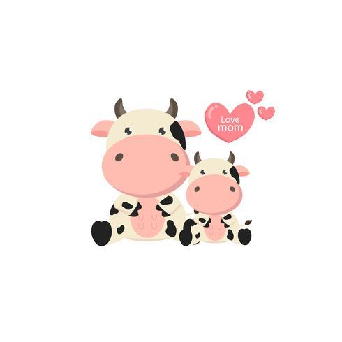 Mor och bebisko. Söt gård djur tecknad.
