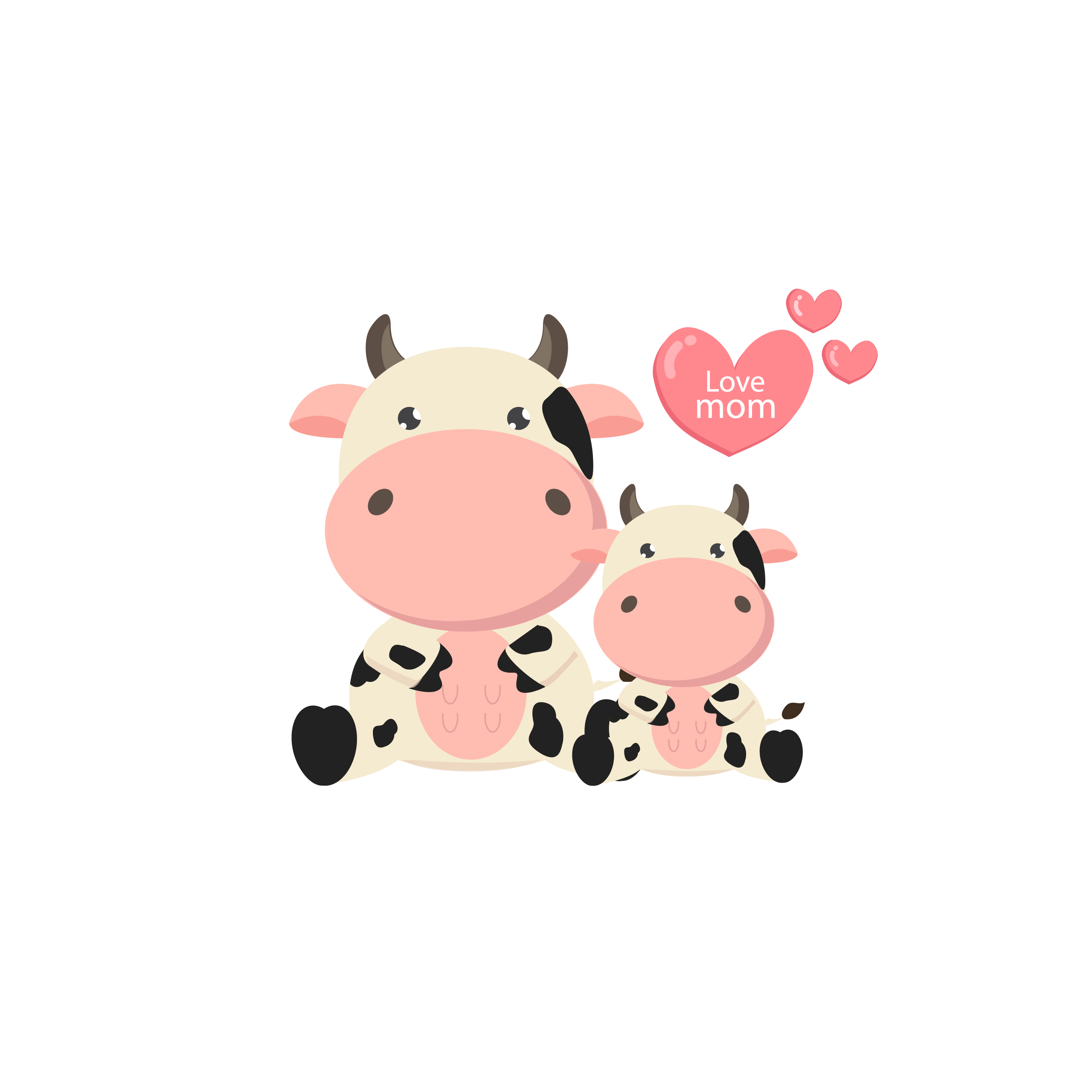 Mother and baby cow. Cute farm animal cartoon. - Download ...