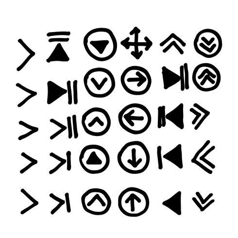 Dibujado a mano icono de flecha