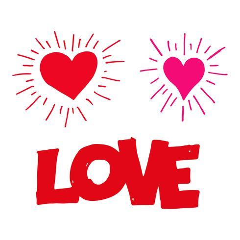 hand draw heart  icon vector
