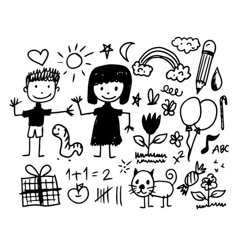 Children hand draw doodle icon vector