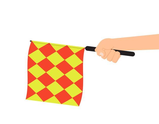 Mão segurando a bandeira de árbitro ou bandeira de impedimento isolada no fundo branco