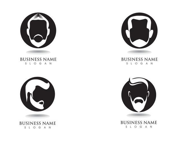 maskuliner Bart, schwarzes Haar, Geek-Logo und Symbol