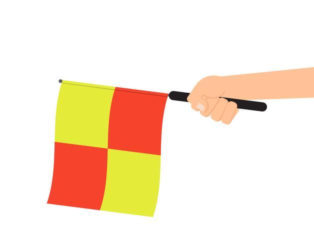 Hand met scheidsrechter vlag of buitenspel vlag geïsoleerd op een witte achtergrond