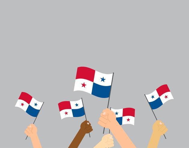 Mani umane che tengono le bandiere di Panama su fondo bianco