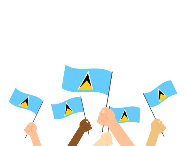 Vector illustration hands holding Saint Lucia flags isolated on white background