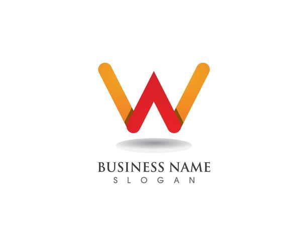 Plantilla de símbolos y negocios con logotipo W