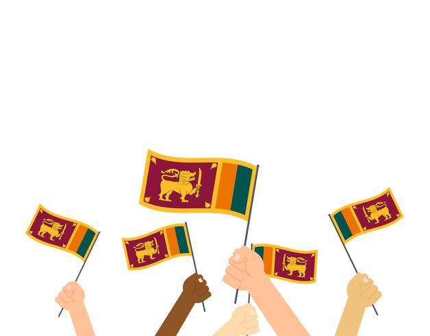Manos de ilustración vectorial sosteniendo banderas de Sri Lanka aisladas sobre fondo blanco