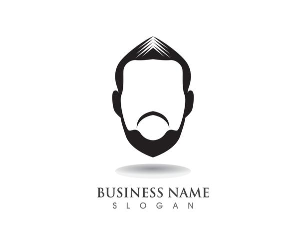 masculine beard black hair geek logo and symbol vector