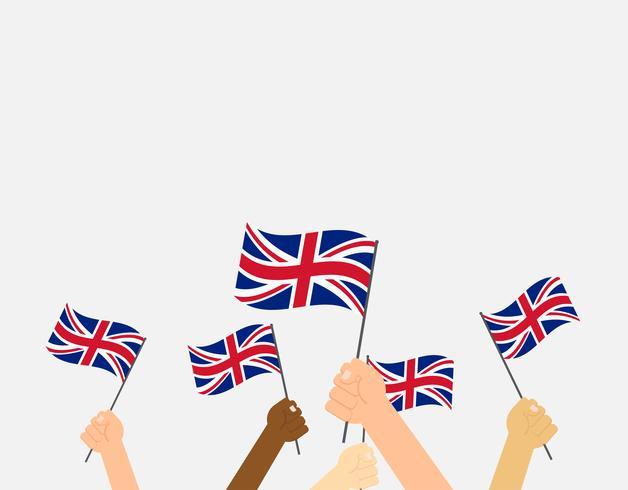 Manos de ilustración vectorial sosteniendo banderas del Reino Unido sobre fondo gris
