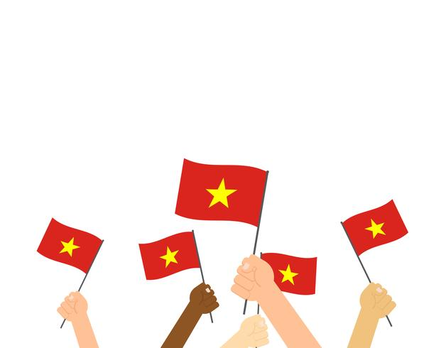 Manos sosteniendo banderas de Vietnam aisladas sobre fondo blanco