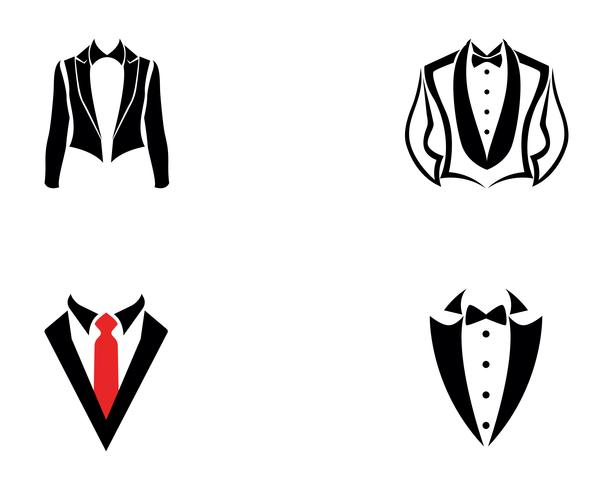 Tuxedo man logo and symbols black icons template