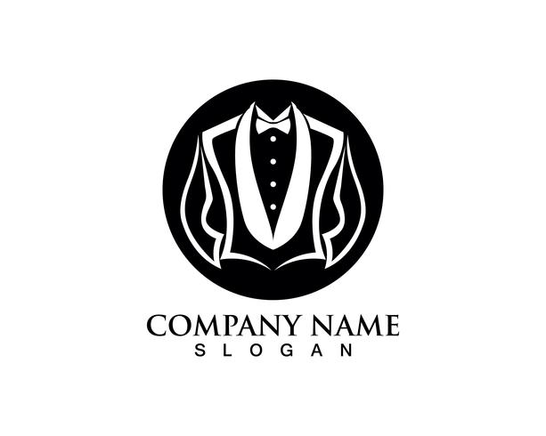 Plantilla de iconos de logotipo y símbolos de hombre de smoking negro vector