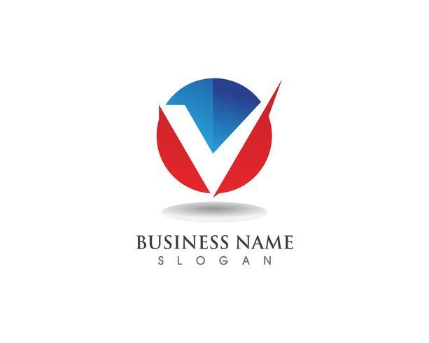 Logotipo de V y plantilla de símbolos