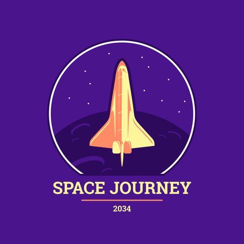 Placa de viaje de espacio plano vector