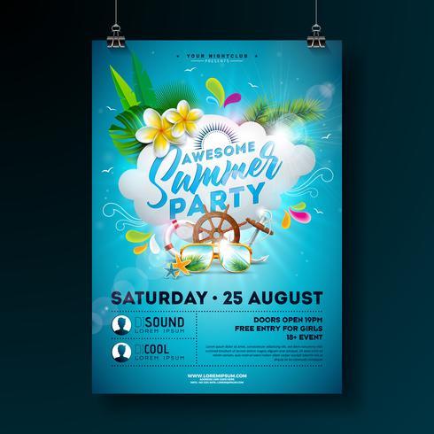 Diseño de Flyer de horario de verano vector