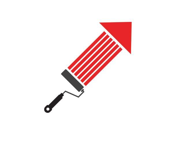 Ilustración de icono de vector de plantilla de logotipo de pintura