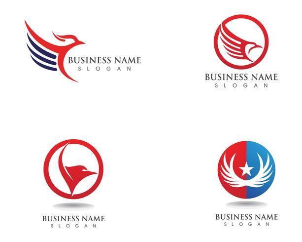 Aile d'icônes vectorielles Falcon Eagle Bird Logo Template
