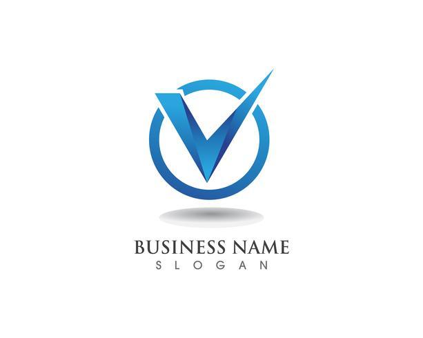 V-logotyp affärs-och symbolmall