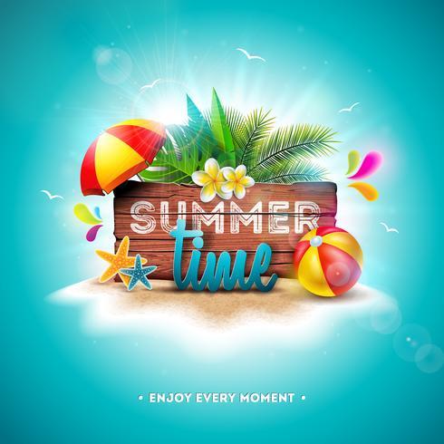 Tipografía de vacaciones de verano vector