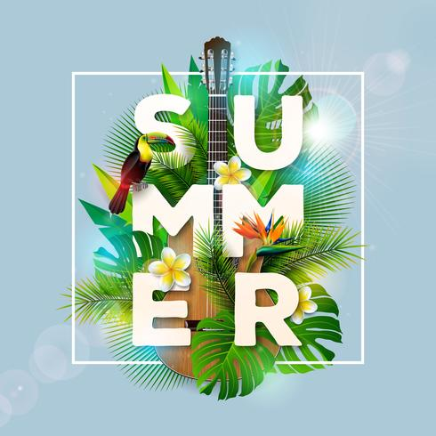 Summer Holiday Design with Toucan Bird
