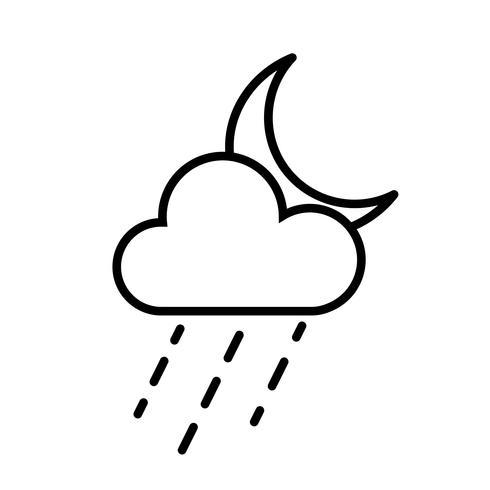 Moln, regn och måne ikon vektor