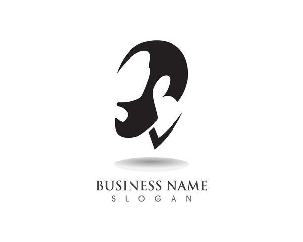 masculine bart black hair geek logo och symbol