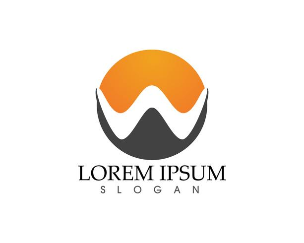 W lettere logo aziendale e simboli vettoriali