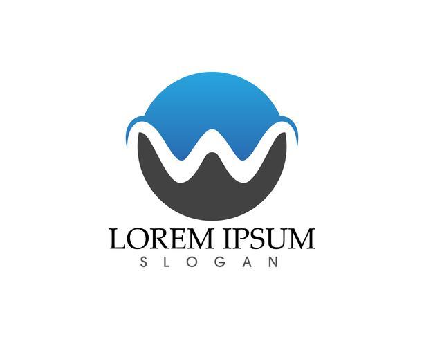 Logotipo do negócio de letras W e vetor de símbolos