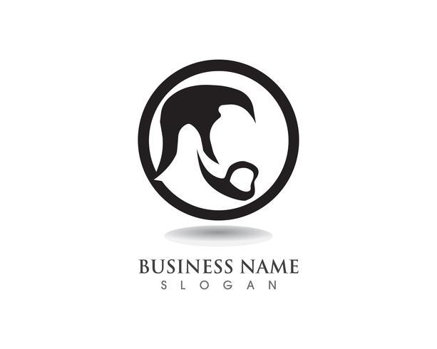 Barba masculina pelo negro logotipo friki y símbolo vector