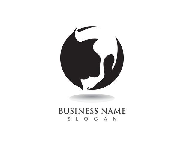 logo e simbolo di geek barba nera capelli neri vettore
