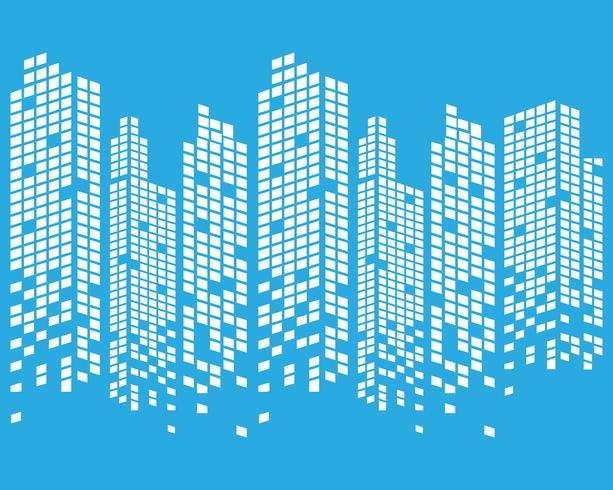 Horizonte de la ciudad moderna. silueta de la ciudad. ilustración vectorial en diseño plano vector