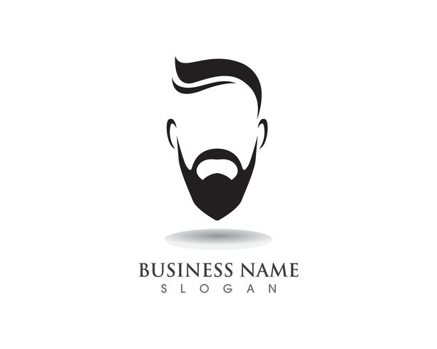 Barba masculina pelo negro logotipo friki y símbolo