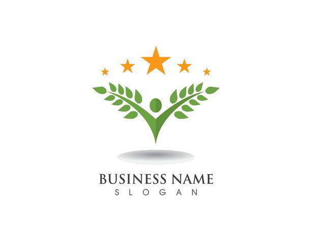 Templat di logo di vettore della carta di identità della gente di verde dell'albero