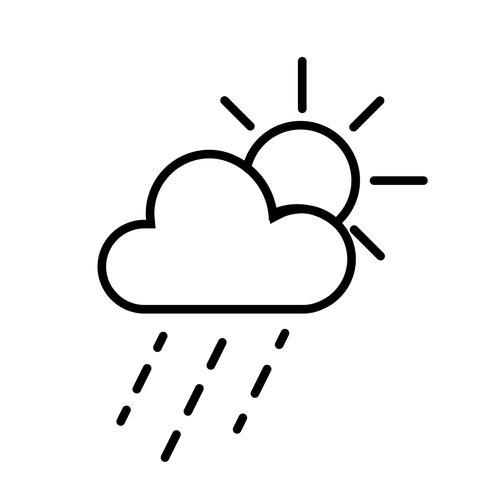 Vector de icono de sol y nubes de lluvia