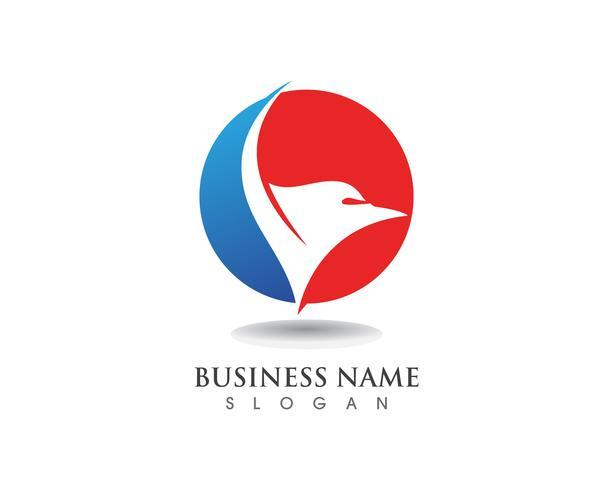Falcon Eagle Bird Logo Template asa de ícones do vetor
