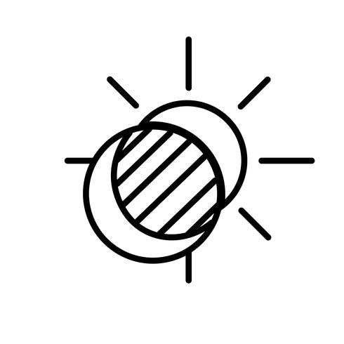 Sun och Moon Eclipse Icon Vector