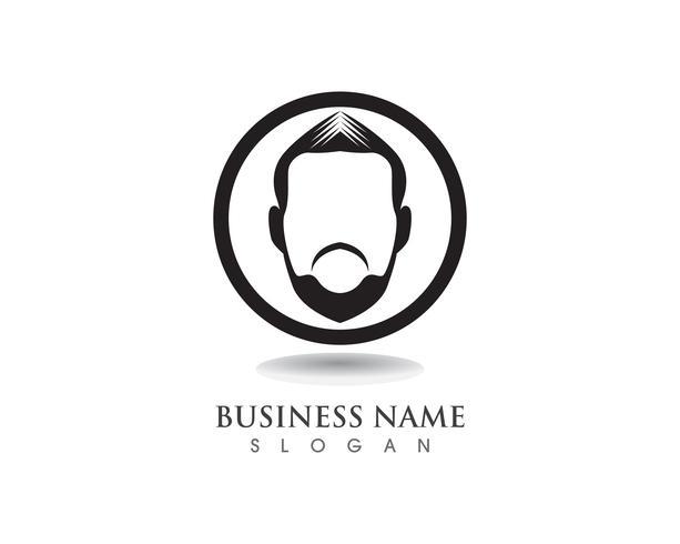 logo e simbolo di geek barba nera capelli neri